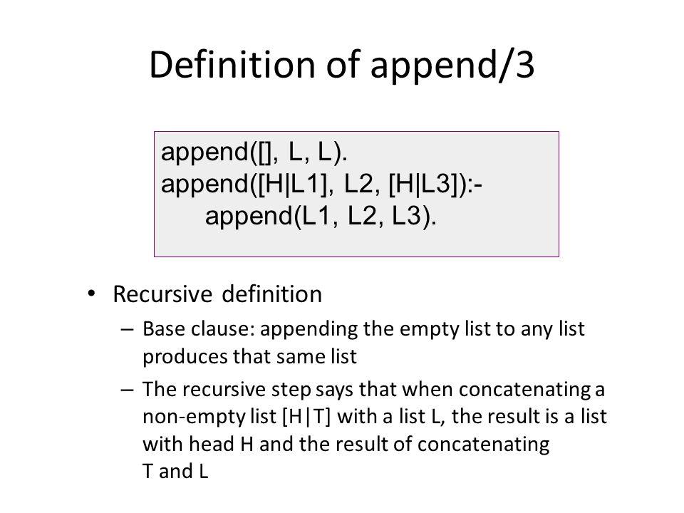 Definition of append/3 append([], L, L). append([H|L1], L2, [H|L3]):-